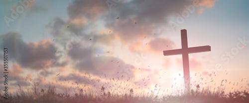 Tela Silhouette jesus christ crucifix on cross on calvary sunset background concept f