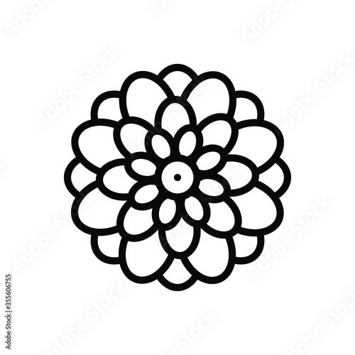 Obraz na plátne Black line  icon for dahlia