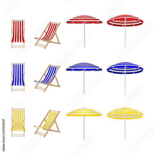 Fotografie, Obraz set of colorful beach chair and umbrellas