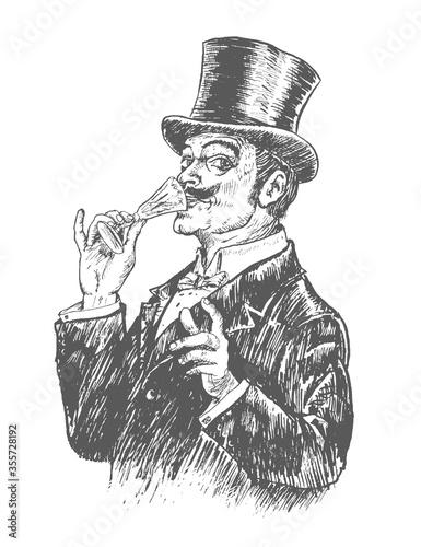Obraz na plátně Elegant gentleman in top hat holding a glass of alcohol drink