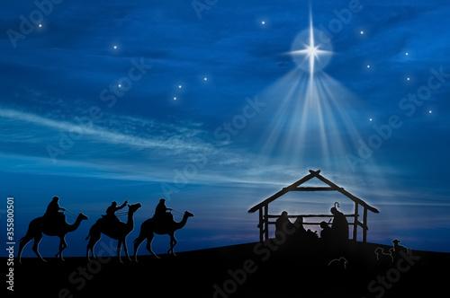 Leinwand Poster Christmas nativity scene of baby Jesus in the manger with Joseph, Mary, shepherd