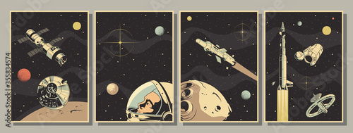 Canvas-taulu Space Astronautics Posters, Astronaut, Spacecraft, Rockets, Planets, Asteroid, R