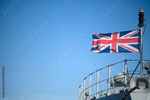 Canvas Print Union Jack flag flying on the HMS Medway warship/offshore patrol vessel for the