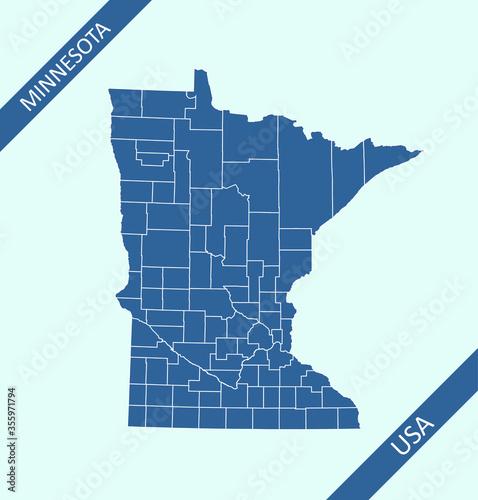 Fotografie, Obraz Counties map of Minnesota
