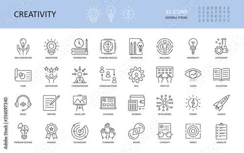 Fotografia Set of vector creativity icons