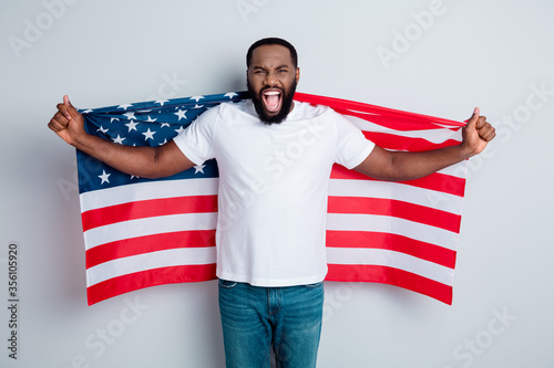 Stampa su Tela Photo of serious unhappy yell dark skin african guy protester raise american nat
