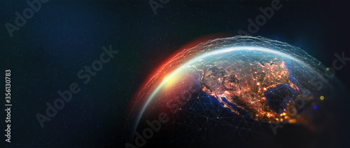 Earth view from space. Global network. Blockchain technology. Planet and communication. Future world 3D illustration. Elements of this image are furnished by NASA #356130783