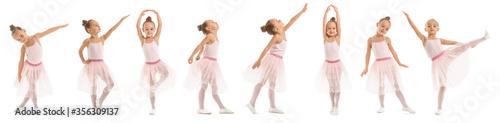 Cute little ballerina on white background Fototapet