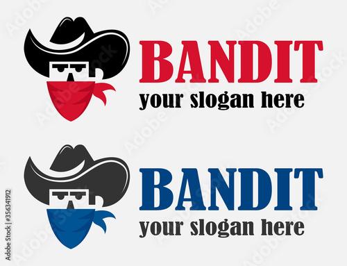 Carta da parati Funny gangster logotype in mask and hat
