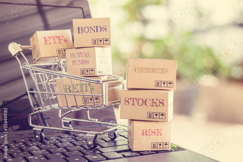 Carta da parati Online wealth creation and management for sustainable growth, asset allocation and investment concept : Boxes of financial products e