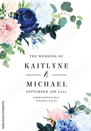 Obraz na płótnie Classic blue rose, white hydrangea, ranunculus, dahlia, thistle flowers, emerald