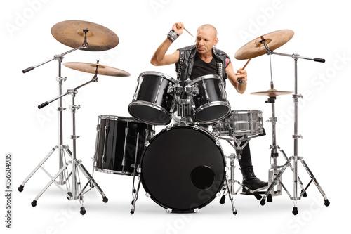 Wallpaper Mural Bald man punkrocker playing a drums