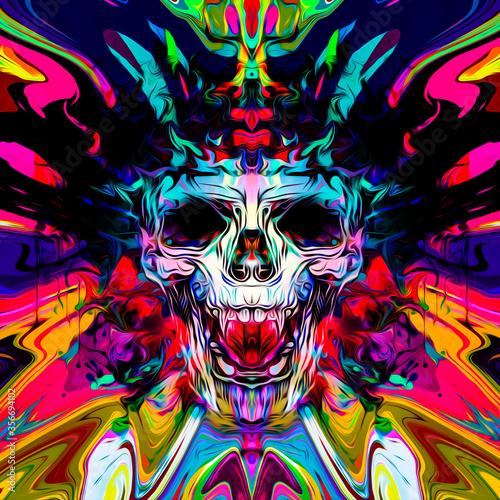 skull graffiti on the wall on background Fototapet