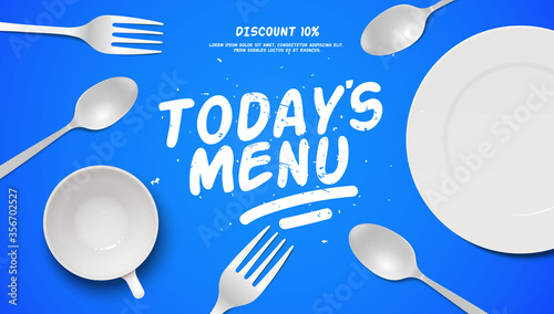 Fotografie, Obraz Today's menu culinary flat lay banner frame illustration with realistic 3d fork