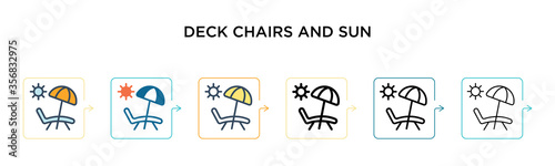 Fotografia Deck chairs and sun vector icon in 6 different modern styles