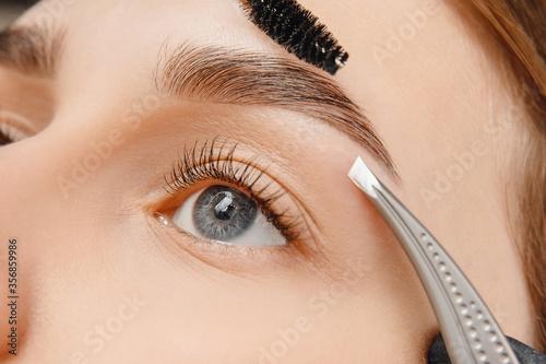 Master tweezers depilation of eyebrow hair in women, brow correction Fototapeta