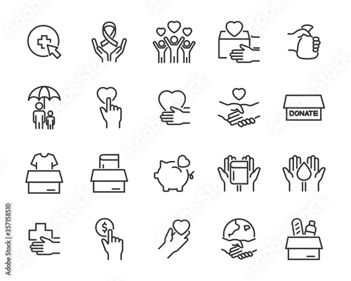 Canvas Print set of charity icons, donate, support, volunteer