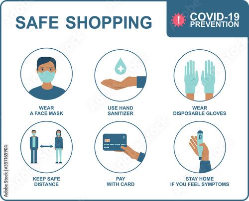 Safe shopping in public places during the coronavirus COVID-19 disease outbreak Fototapeta