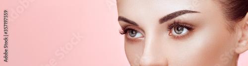 Fotografia, Obraz Beautiful Woman with Extreme Long False Eyelashes