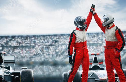 Fotografie, Obraz Racers cheering on track