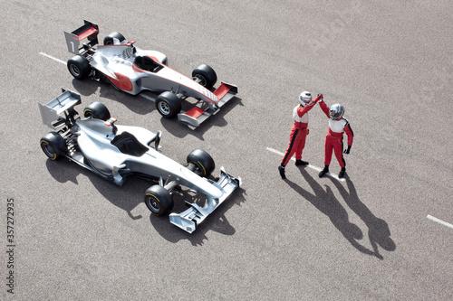 Obraz na plátně Racers cheering on track