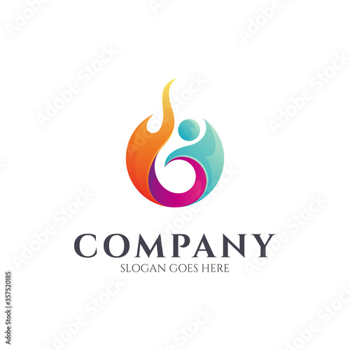Photo Fire people logo, Human spirit, Sport icon, Fitness gym, passion and ambition ve