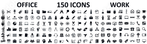 Fotografie, Obraz Set of 150 office icons, work in office signs - stock vector