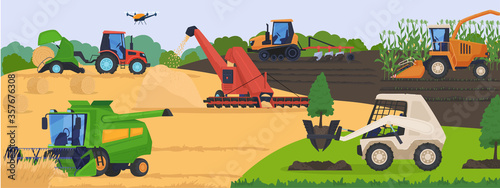 Fotografia Agricultural machinery in field, harvest vehicle equipment and rural transport, vector illustration
