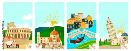 Canvas Print Italian towns travel banners set, tourism on vacation vector illustration of italians city famous landmarks