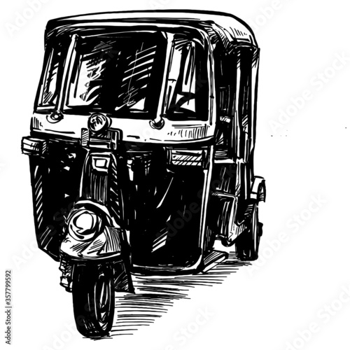 Canvas Print Drawing of motorcycle tricycle in India