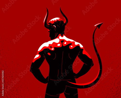 Devil muscular strong man with horns and tail from back view vector illustration, powerful demon, the evil is strong, animal part of human nature, inner beast Fototapeta