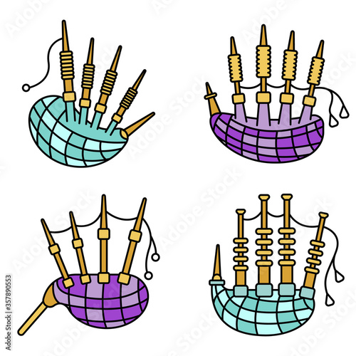 Fotomural Bagpipes icon set