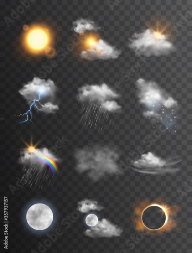 Wall mural Collection of beautiful vector realistic weather symbols/icons - meteorology, forecast