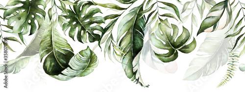 Naklejka na szafę z ilustracją tropikalnych liści zwisających z sufitu