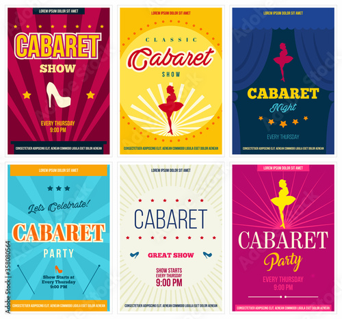 Tela Cabaret retro posters set, vector illustration