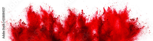 Fotografie, Tablou bright red holi paint color powder festival explosion isolated white background