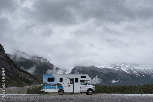 Tablou Canvas camping in the mountains in an RV Campervan in Canada