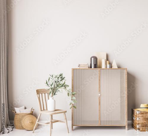 Fotografia, Obraz Interior mock up in white simple design with wooden furniture and rattan basket,