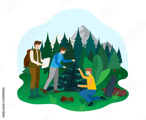 Obraz na płótnie Hiking camping outdoor national park area, male character naturalist walk ecology explore forest isolated on white, flat vector illustration