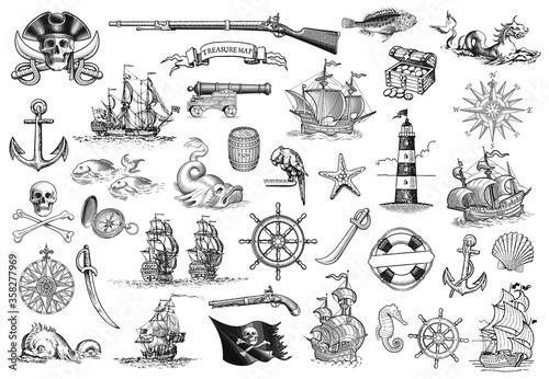 Vintage Monochrome Marine Icons Collection