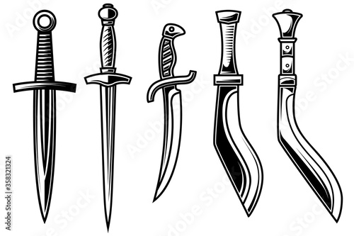 Fotomural Set of illustration of daggers in engraving style