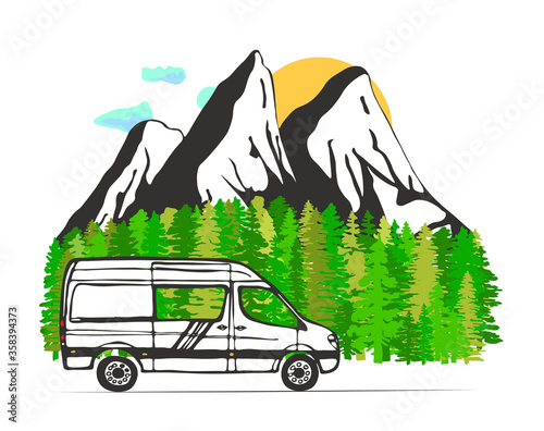 Fotografie, Tablou White van with forest and mountains in the background