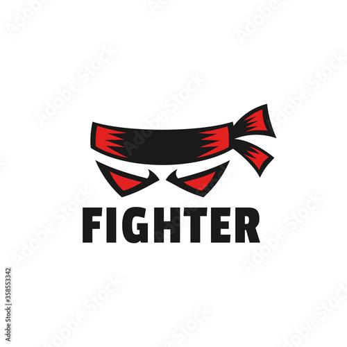 strong masculine fighter with headband logo design Fototapet