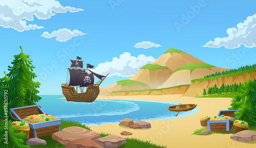 Fotografia Pirate ship in a bay with trunks of treasure or booty on a sandy beach, colored