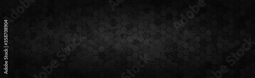 Leinwand Poster Panoramic texture of black and gray carbon fiber - Vector