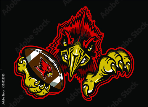 Leinwand Poster cardinal football team mascot holding ball in claw for school, college or league