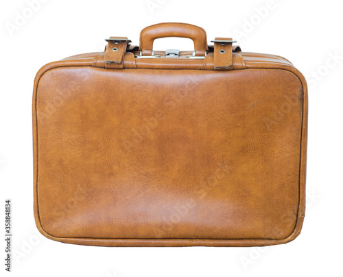 Fotografie, Obraz Old retro vintage 50s suitcase old case travel luggage, brown leather skin bagga