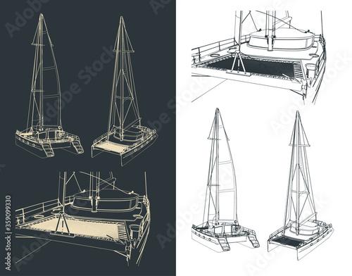 Fotografia, Obraz Catamaran drawings illustration