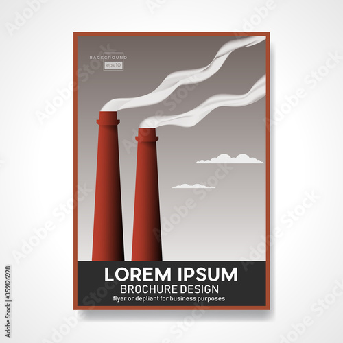 Leinwand Poster Smokestacks of a factory with smoke polluting the environment.