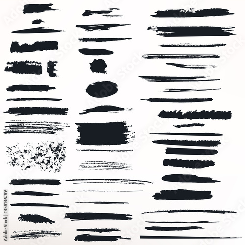 Wallpaper Mural Collection of vector painted grunge ink strokes for brushes designs